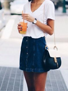 2017 SPRING & SUMMER FASHION TRENDS! Ask your Stitch Fix stylist to send you items like this.#StitchFix #sponsored NAVY BUTTON UP MINI SKIRT & WHITE TEE