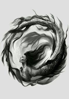 Would make an awsome tatoo mermaid drawings, mermaid art, mermaid tattoos, Trendy Tattoos, New Tattoos, Tattoos For Women, Cool Tattoos, Feminine Tattoos, Ankle Tattoos, Forearm Tattoos, Dark Mermaid, Mermaid Art
