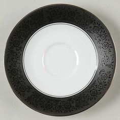 """""""Mirano"""" china pattern with gothic black trim & embellished floral print from Noritake."""