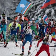 Uphill skiing during the Men's 4x7.5km Relay at the Biathlon World Cup