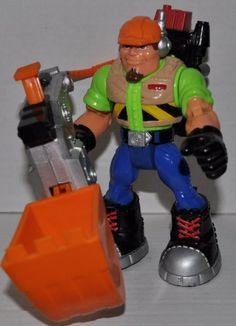Rescue Heroes Rip Rockefeller Construction Worker with Digging Action Backpack Rescue Hero - Fisher Price Action Figure - Non Violent Doll Toy Rescue Heroes -