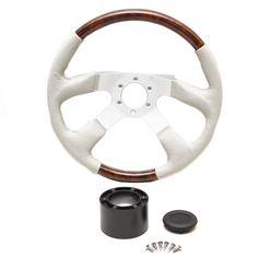 Deluxe 14 1/4 Inch Faux Cherry Woodgrain / Gray Leather Boat Steering Wheel w/ Hub