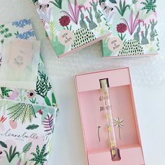 Bodil Jane's illustrations for the packaging and design of five different charms, for the new 'Grow & Bloom' collection by Lennebelle Petites.