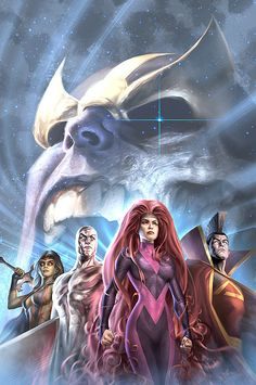 Thanos, Gamora, Silver Surfer, Medusa & Gladiator by Alex Garner Marvel Comics Art, Marvel Comic Books, Marvel Vs, Comic Book Characters, Comic Book Heroes, Marvel Characters, Marvel Heroes, Comic Character, Comic Books Art