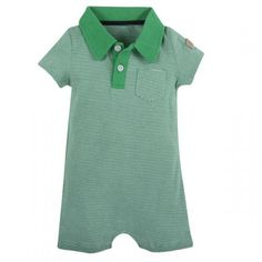 Andy & Evan for Little Gentlemen!   This striped romper is made from 100% cotton and is accented with premium shirting trim