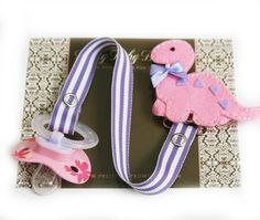 Baby Girl Pacifier Clip Pink Dinosaur by PrettyBabyBowtique