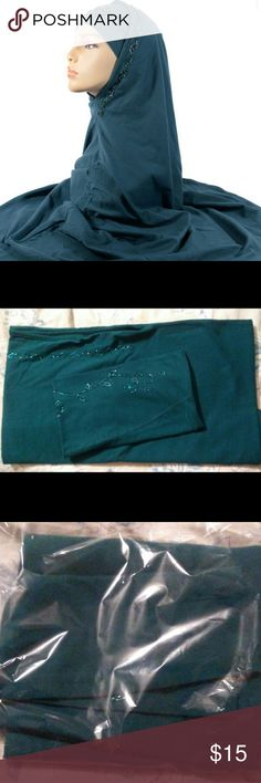 """Like new! Al Amirah 2-piece Hijab LIKE NEW worn once around the house!  Al Amirah 2 piece hijab in Teal color with pretty sequins. All beads are in place, nothing missing.  Material: Cotton  Really nice material and high quality hijab.  Size: approx. 30""""  *Cheaper on Ⓜerc  Comes from smoke free, pet free and clean home. Priced for quick sale! East Essence  Accessories Scarves & Wraps"""