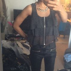 for Sale $10 NWT  Zipper Polka Dot Crop Top. Black and whit. Fashion blog shop . Fashion blogger shop my closet. Dayofmajor blog