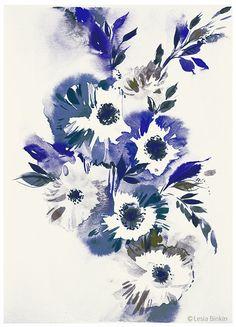 Blue River watercolor flower painting floral art print