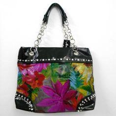 Sac cabas noir à motif fleurs avec strass