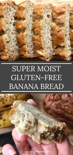 This super moist banana bread is soft and full of banana flavor. Mildly sweet and with no need for any butter or oil or xanthan gum, this beautiful banana bread is perfect for snacking alongside a hot cuppa coffee or tea. Gluten Free Quick Bread, Gluten Free Banana Bread, Gluten Free Sweets, Gluten Free Cooking, Dairy Free Recipes, Bread Recipes, Breakfast And Brunch, Super Moist Banana Bread, Clean Banana Bread