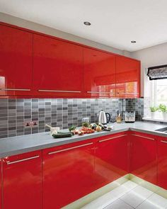 Modern Kitchen Design in Revolutionizing Bold Red Color example for grey worktop