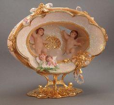 Cupid in the Clouds Pair of Cupids Cupid Egg by NatalieOrigStudio, $125.00