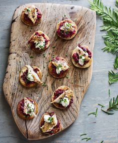 These horseradish blinis with beetroot and mackerel sound divine. Would be great as a canapé or a sharing starter!