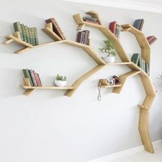 The windswept oak tree bookshelf tree bookcase tree shaped bookshelf throug Tree Bookshelf, Tree Shelf, Bookshelf Design, Tree Book Shelves, Bookshelf Ideas, Creative Bookshelves, Book Tree, Wooden Tree, Tree Shapes