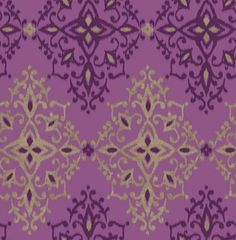 Kimi (M0707) - Crown Wallpapers - A beautiful all over damask design in a watercolour ikat effect. Showing in purple amethyst with gold - more colours are available. Please request a sample for true colour match. $16