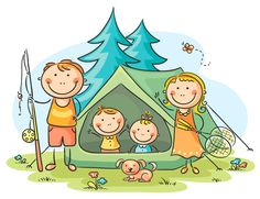 Illustration of Family camping in the woods vector art, clipart and stock vectors. Art Drawings For Kids, Doodle Drawings, Drawing For Kids, Cartoon Drawings, Art For Kids, Camping In The Woods, Camping With Kids, Family Camping, Camping Cartoon