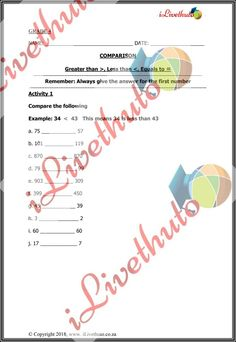 Home - iLiveThuto Number Activities, Greater Than, Grade 3, 5th Grades, Number One, Equality, Worksheets, Names, How To Plan