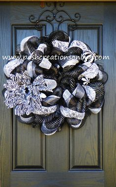 Zebra Print Deco Mesh Wreath by poshcreationsKY on Etsy, $69.00