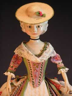During the 18th century, French fashion dolls dubbed Big and Little Pandora,  were exact replicas of fashionable French ladies hair style, jewelry, and makeup. by mavis