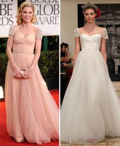 Julie Bowen from Modern Family wore my wedding dress in blush to the golden globes. Cannot wait to wear it. :)
