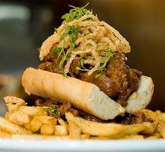 Texas Haute Dog with Prairie Fire Chili (Venison Chili) - Max's Wine Dive Hot Dog Recipes, Sandwich Recipes, Pork Chop Sandwiches, Grub Ideas, Venison Chili, Prairie Fire, Gastro Pubs, Fried Pork Chops, Deer Meat