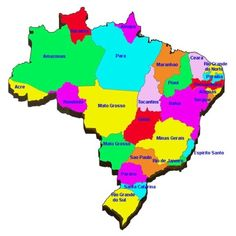 Map of Brazil with cities rivers Lesson plan ideas for Brazil