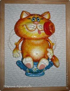 Картина панно рисунок Лепка Мусик-пусик Тесто соленое фото 1