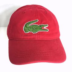 7e979d50b6f Lacoste Boys Big Croc Cap Hat Tokyo Red Adjustable Self Strap RK152151 Sz  6 9