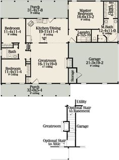 First Floor Plan image of Sutherlin Small Ranch House Plan