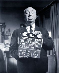 Alfred Hitchcock on the film set, Psycho, 1960