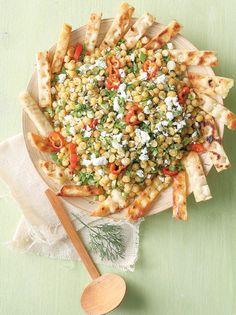 Ρεβιθοσαλάτα με κουρκουμά και κρουτόν τηγανητής πίτας #ρεβιθοσαλάτα Pasta Salad, Salads, Vegan Recipes, Food And Drink, Bread, Ethnic Recipes, Dressings, Author, Gastronomia
