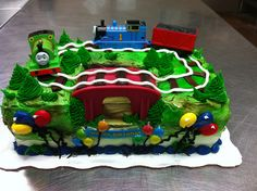 Thomas the Train Cake 2nd Birthday Party For Boys, Thomas Birthday Parties, Trains Birthday Party, 2 Birthday Cake, Birthday Board, Birthday Celebration, Birthday Ideas, Thomas Cakes, Thomas The Train