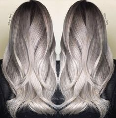 Fabulous silver creation by @guy_tang! On prelightened level 9 hair (level 10 ends), he used #KenraColor 7VM + 7SM at the roots and 8VM + 8SM + 2 dots of Red Booster on the mids, and 9VM + 10SM + 1 dot of Red Booster on the ends. #MetallicObsession #GuyTangFavorites
