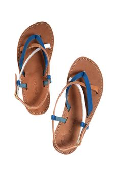 FREE SHIPPING-Corfu Blue/Natural/White- A hand-crafted classic Greek style sandal in a great neutral color combination.