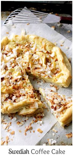Swedish Coffee Cake is a buttery pie crust topped with a Pâte à Choux mixture, a sweet glaze, and toasted coconut.