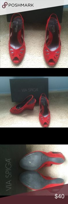 via spica suede red wedges classic red suede wedge sandals Via Spiga Shoes Wedges