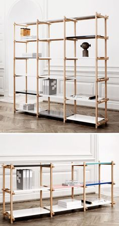 The Woody Shelving System by Hay has a slim profile that looks stunning with its colored powder-coated steel shelves. I'm not sure that I'd want to put anything on the unit!