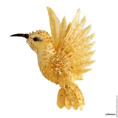 Купить Брошь-колибри «Gold».Праздничная серия. Шёлковая брошь-птица. - брошь птица