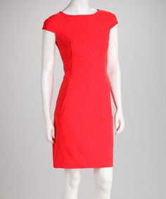 Take a look at this Orange Red Curved Seam Cap-Sleeve Dress by Spring Forward: Women's Dresses on @zulily today!