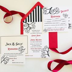 Red invitation with black and white striped inside covering. Font is whimsical and fun.   Picture by: Van Tran  email: vanvtran2020@gmail.com