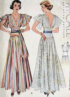 Vintage Dress Patterns, Clothing Patterns, Vintage Dresses, Vintage Outfits, Vintage Long Dress, Lace Dresses, 1930s Fashion, Retro Fashion, Vintage Fashion