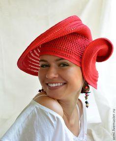 """Шляпы ручной работы. Ярмарка Мастеров - ручная работа. Купить Шляпа """"Вдохновение"""". Handmade. Ярко-красный, связана крючком"""