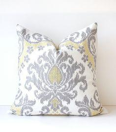 Yellow & Grey Ikat Decorative Designer Pillow by WhitlockandCo, $42.00