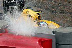 Palmer Renault Monaco wrecks in the opening laps at turn 1 F1 Season, Formulas, F 1, Formula One, Sport, Monaco, The Twenties, Racing, Cars