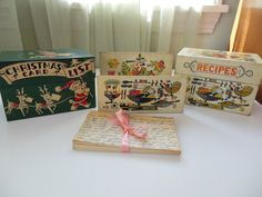 Retro Recipe File Box and Matching Open File by loonlakevintage