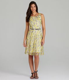 Alex Marie Cynthia Belted Floral Dress.