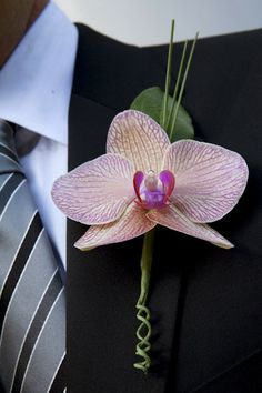 Absolutely love this #pink and #orange #boutonniere {A New Leaf Weddings & Events}