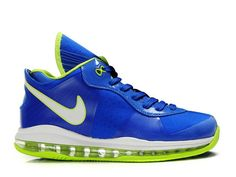 Nike LeBron 8 V2 Low Sprite,Style Code:456849-401,This Nike Lebron 8 V2 Low features a vibrant blue upper, while the volt color was applied to the inner lining, tongue border, outline of swoosh, inner lining and max air unit sole. It also features the mesh overlays on panel and toe box which can enhance the air permeability of the sneaker. The shoe also utilizes a Ashiko-style flywire upper shell.