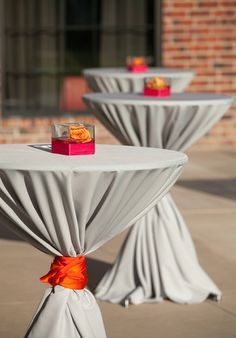 gray weddings, cocktail bar wedding, pink and orange reception, orange and pink party, outdoor cocktail party ideas, simple centerpieces, cocktail tabl, orange weddings, parti